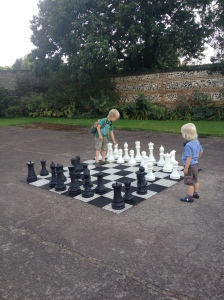 giant chess on the old tennis court